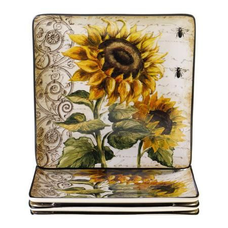 Certified International French Sunflowers Square Dinner Plate Set Of 4 Walmart Com Dinner Plate Sets Sunflower Decor Sunflower Design