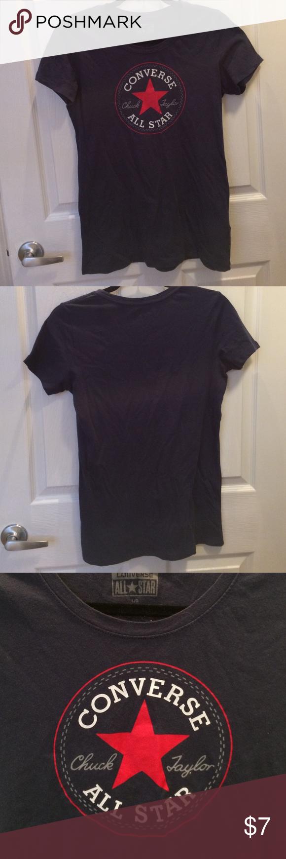 Converse Logo Shirt Dark navy blue converse logo shirt. Women's size large and 100% cotton Converse Tops Tees - Short Sleeve
