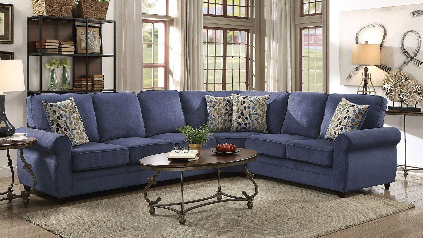 Surprising Kendrick Blue Sectional W Pull Out Sleeper City Furniture Cjindustries Chair Design For Home Cjindustriesco