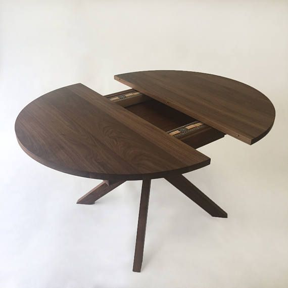 Round Dining Table With Extension Solid Walnut With Modern