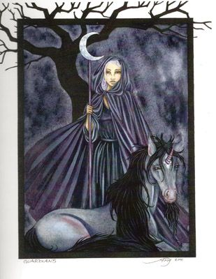 """Guardians, artwork by Amy Brown, a dark open edition print with a safe presence. Features a mysterious fairy with her majestic unicorn companion, always by her side to protect her.  Dimensions: 8 1/2"""" W x 11"""" H  Materials: 80 lb cover stock  Price: $12.95"""