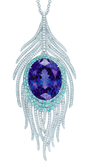 Tiffany & Co., Peacock Pendant with oval tanzanite, cuprian elbaite tourmalines and diamonds.