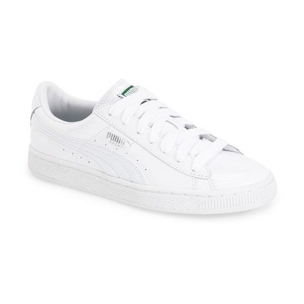PUMA 'Basket' Sneaker (€62) ❤ liked on Polyvore featuring shoes, sneakers, lacing sneakers, leather shoes, lace up sneakers, puma footwear and rubber sole shoes