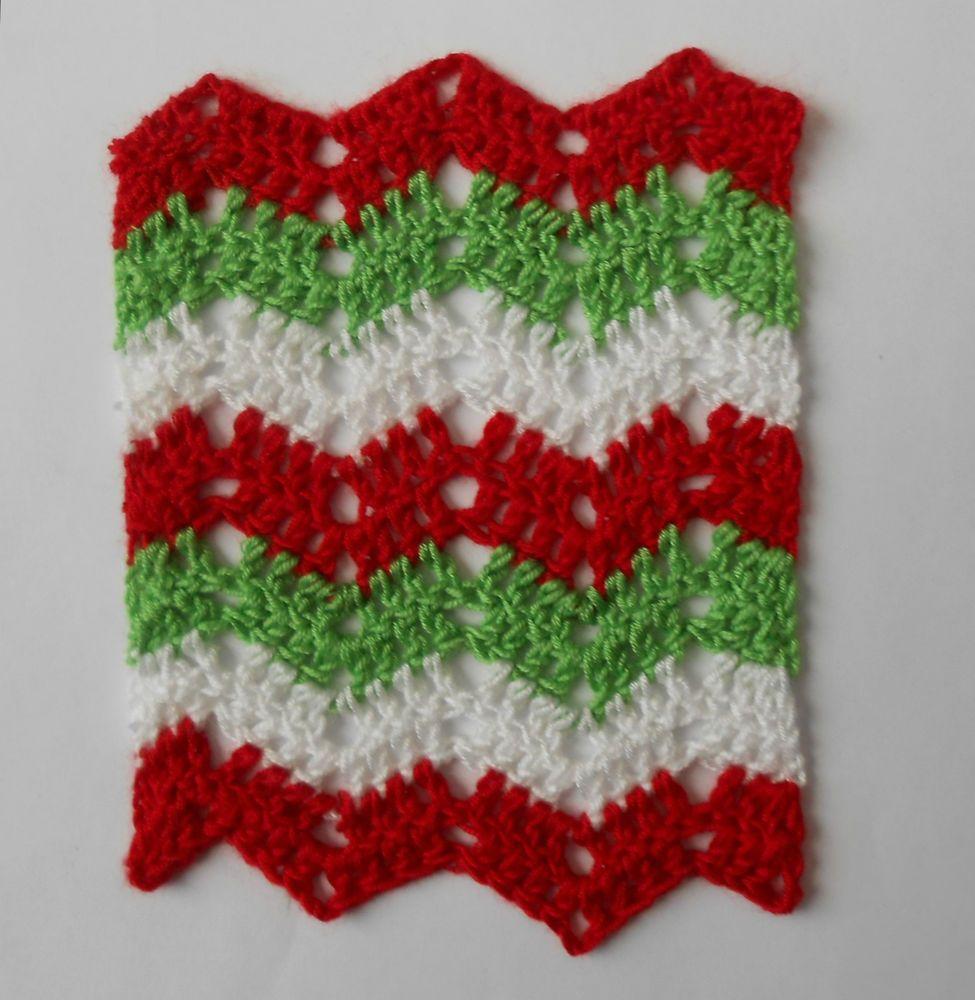 Dollhouse Miniature Crochet Afghan/Blanket~ Silk Yarn ~Zig Zag Ripple~ Christmas #Unbranded