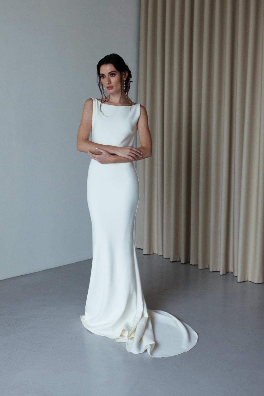 Claire Boat Neck Wedding Dress Summer Wedding Dress Beach Minimal Wedding Dress [ 1500 x 1000 Pixel ]