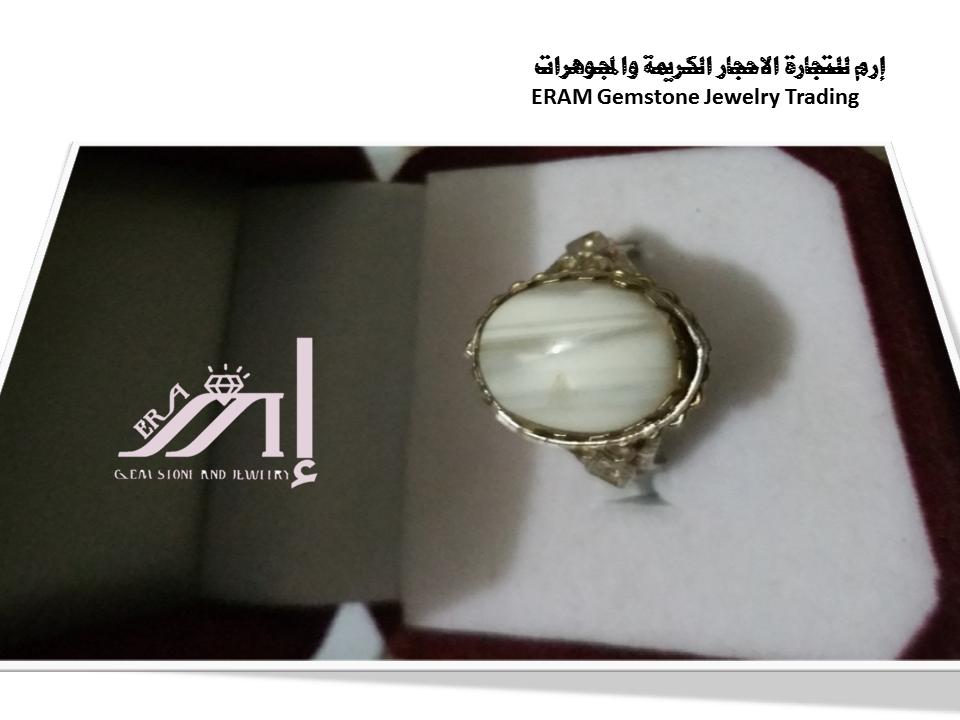 خواتم عقيق نسائي يمني جزع ابيض مقلم طبيعي 100 Agate Jewelry Gemstone Jewelry Gemstones