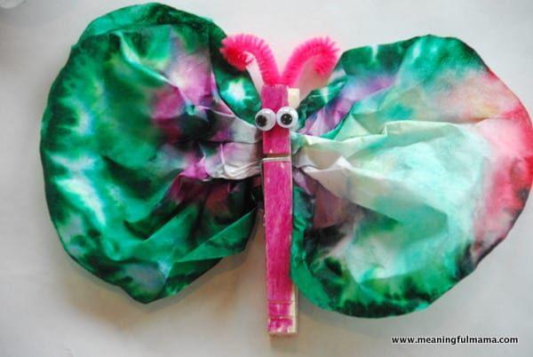 Coffee Filter Tie Dye Butterflies   Bug crafts, Coffee ...