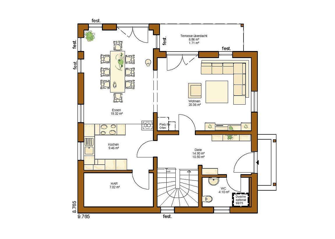 CLOU 135 Walmdach Grundriss Erdgeschoss | Grundriss | Pinterest ...