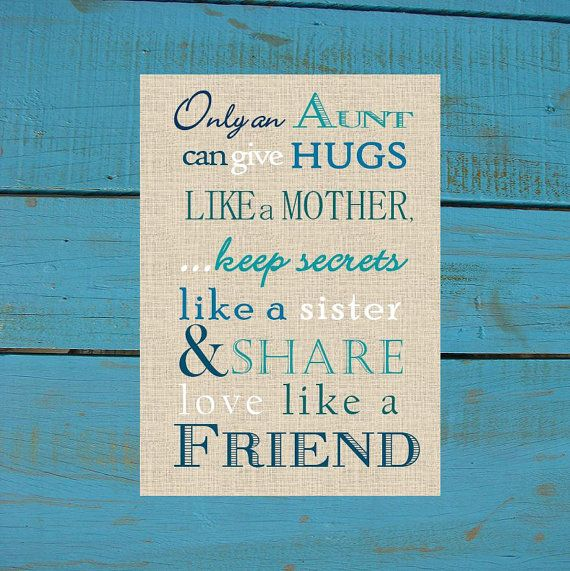 Aunt Gift Print. Only and Aunt can give hugs like a Mother ...