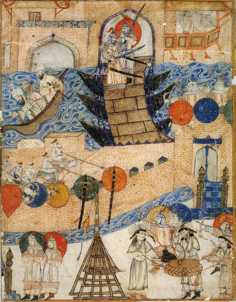 Siege of Baghdad by the Mongols, led by Hulagu Khan in 1258. Ilkhanate  miniature.