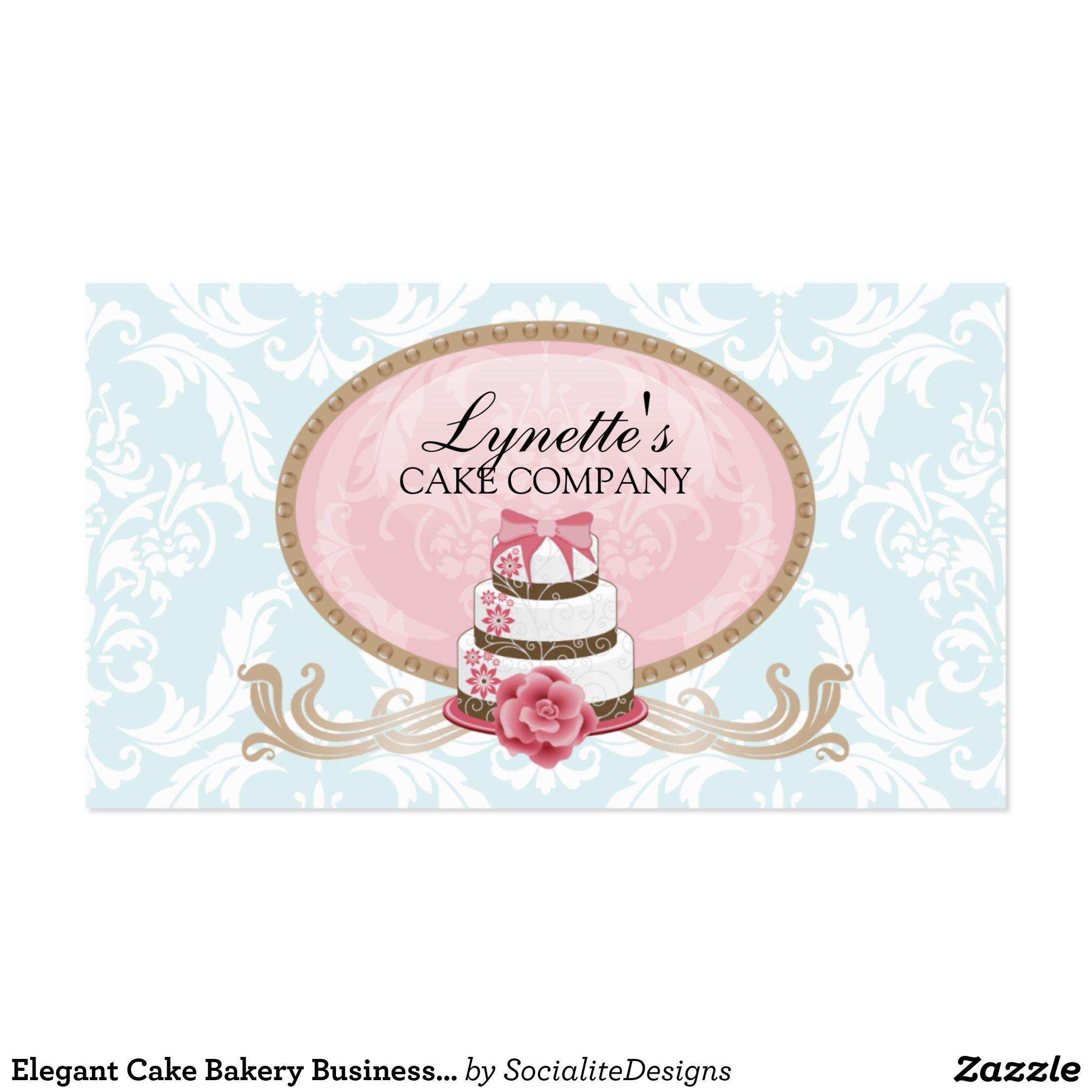 Elegant Cake Bakery Business Card | Bakery business cards, Bakery ...