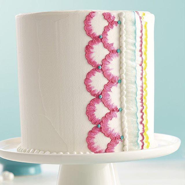 Instagram Photo By Wiltoncakes Wiltoncakes Via Iconosquare Brush Embroidery Buttercream Cake Designs Butter Cream