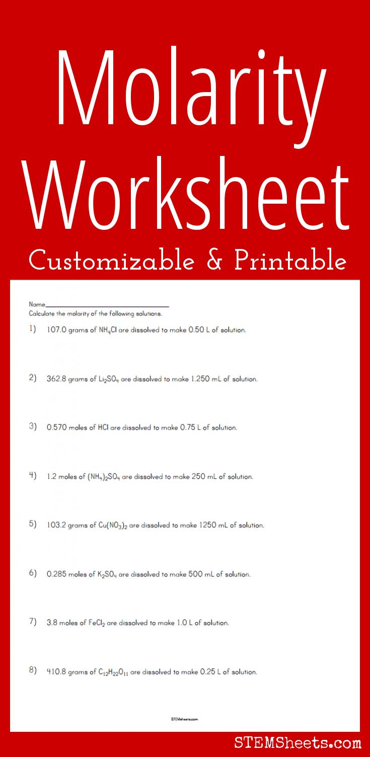 Worksheets Molarity Worksheet molarity worksheet customizable and printable chemistry printable