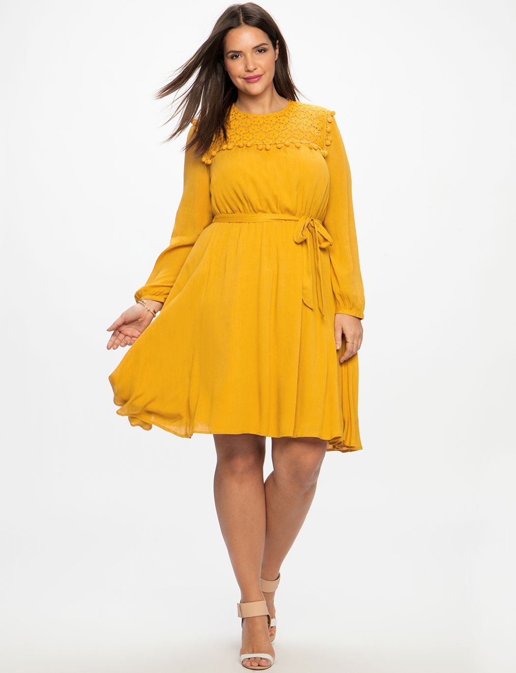 04e2367de07 Fit and Flare Dress with Lace and Pom Detail GOLDENROD