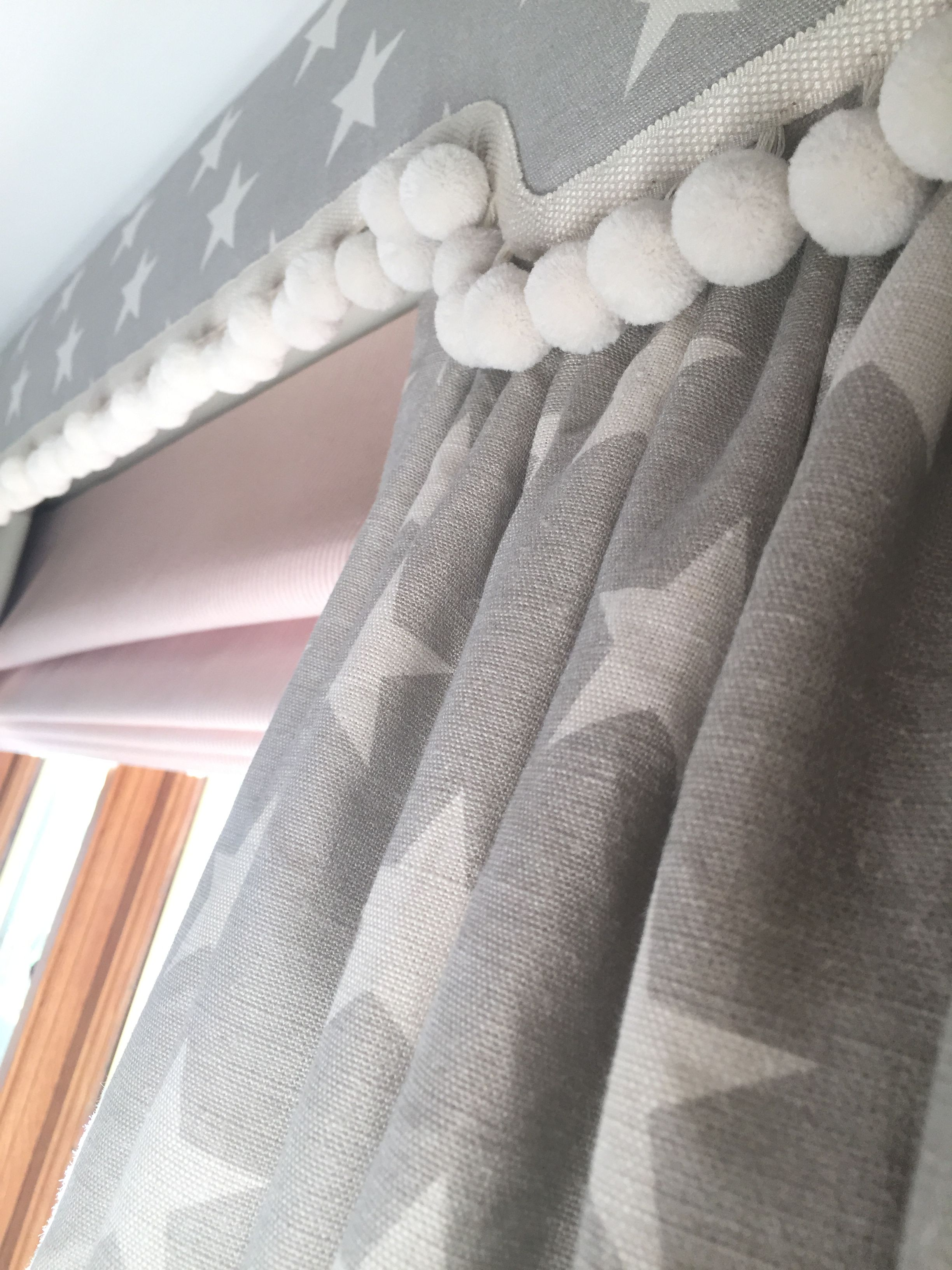 Shaped pelmet Pom Pom trimming star curtains and pink candy stripe