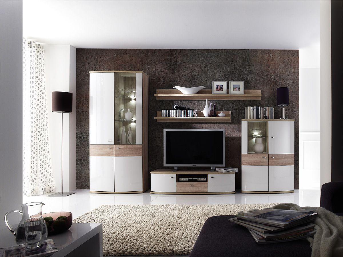 Wohnwand weiß hochglanz eiche  Wohnwand Lenny 5tlg. Weiß Hochglanz Wohnwand bestehend aus: 1 x ...