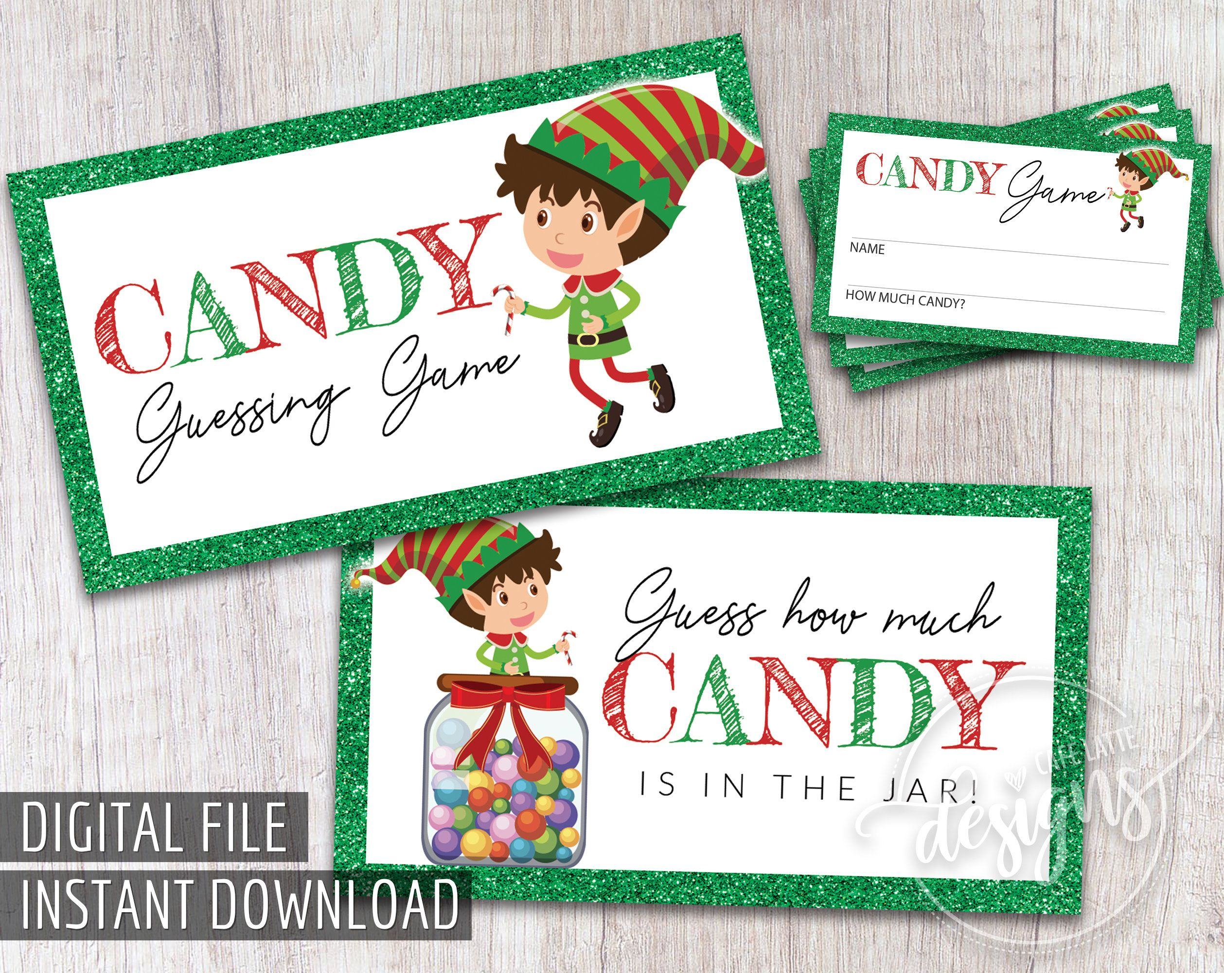 Christmas Candy Guessing Game Printable Christmas Games Party Printables Guess How Much Candy Is In The Jar December Birthday Candy Game Christmas Party Games For Groups Christmas Party Games For Kids