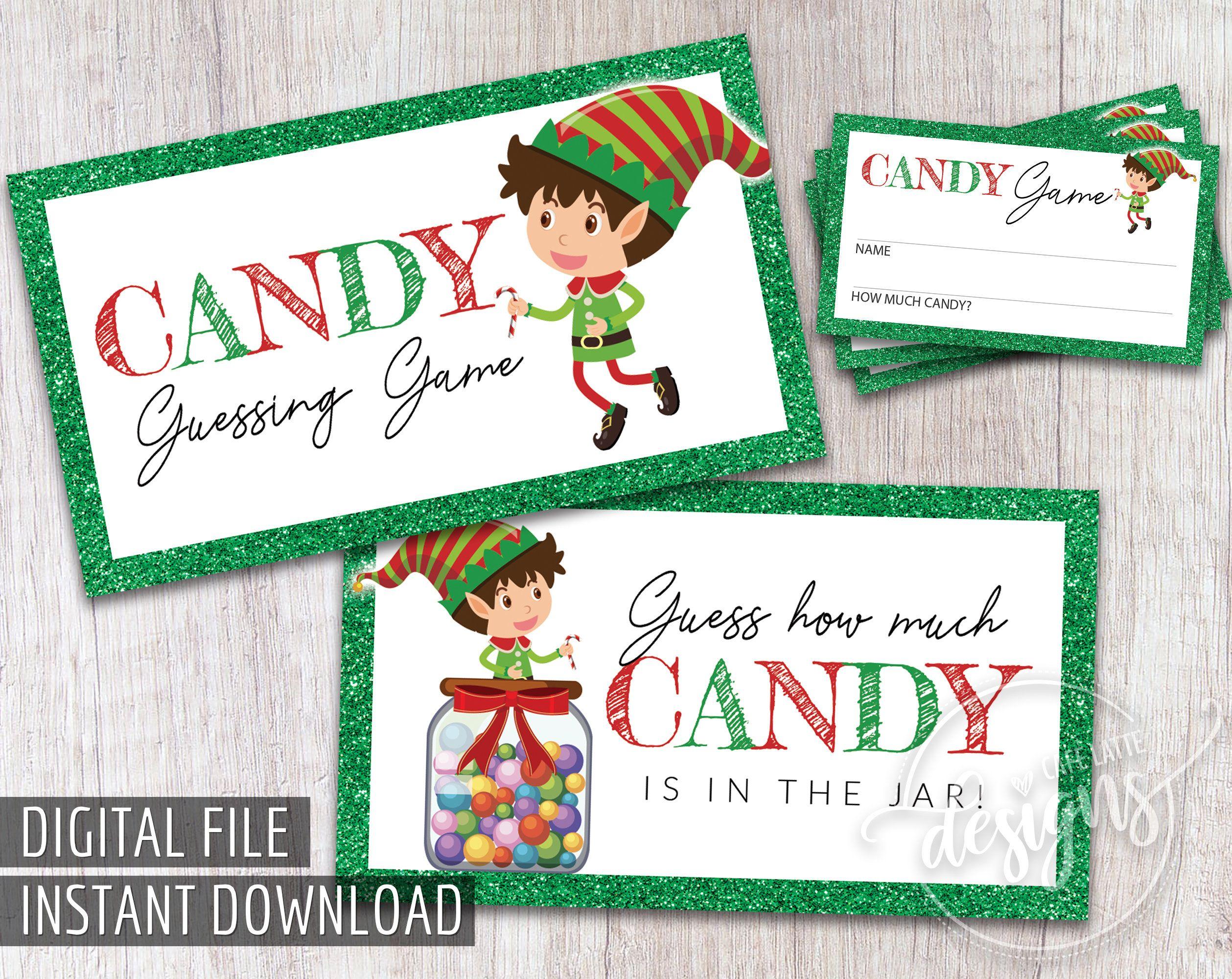 CHRISTMAS Candy Guessing Game, Printable Christmas Games