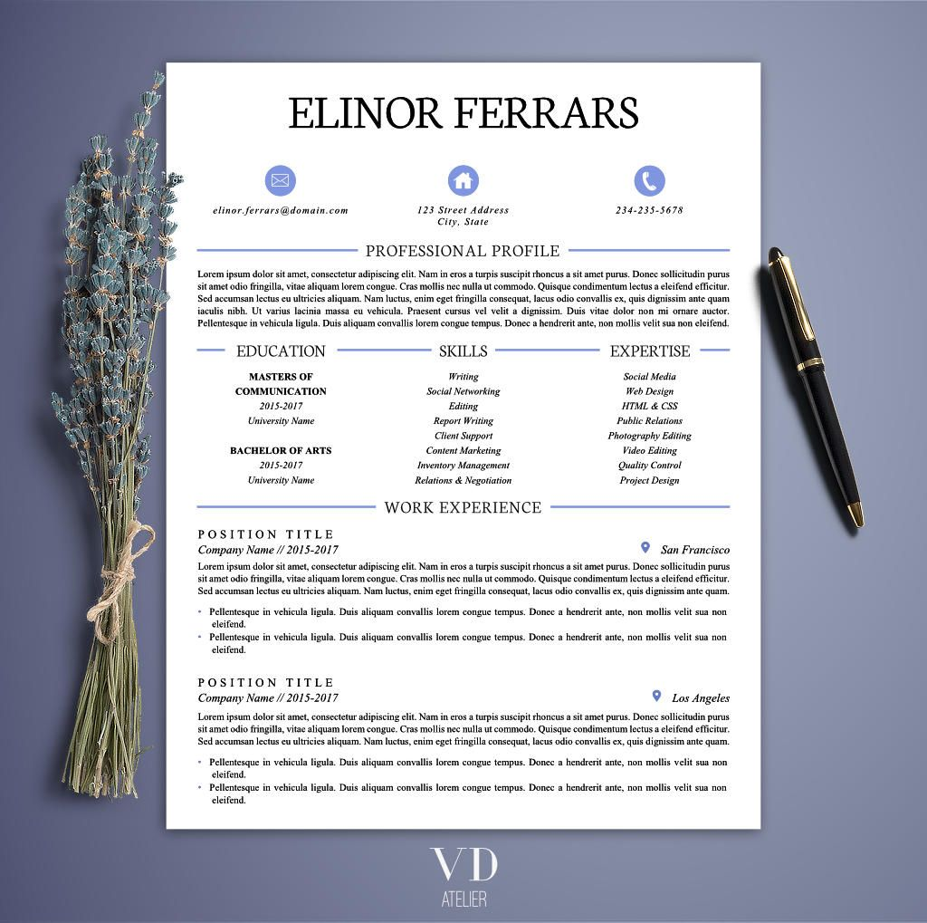 Simple Resume Template Creative Resume Modern Resume Printable
