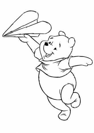 Раскраска Винни Пух с бумажным самолётом. | Раскраски ...