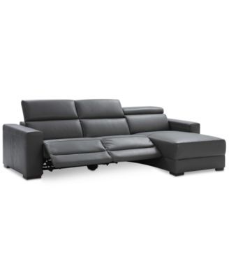 Magnificent Nevio 115 3 Pc Leather Sectional Sofa With Chaise 2 Power Ocoug Best Dining Table And Chair Ideas Images Ocougorg