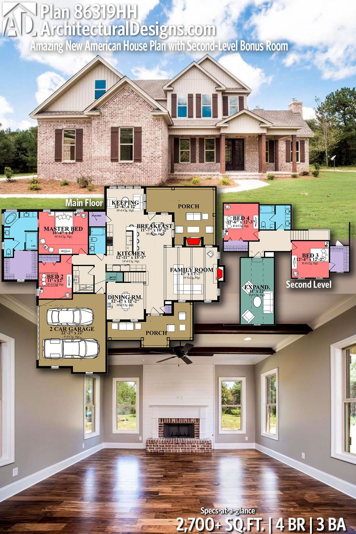 Plan 86319hh Amazing New American House Plan With Second Level Bonus Room American Houses House Plans Dream House Exterior