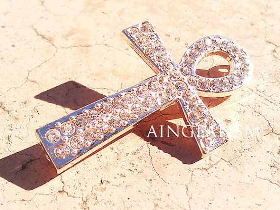 Ankh Connector Rose Gold Rhinestone Connector Ankh Charm with Crystal Rhinestones RC011