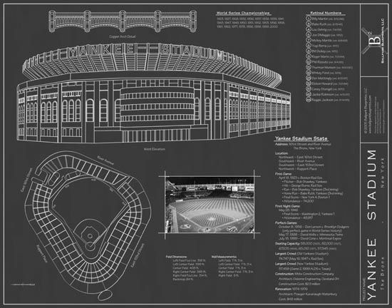 Yankee Stadium (Blueprints) mural Cool man-decore Pinterest - copy plane blueprint wall art