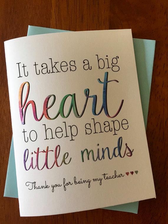 to my teacher greeting card teacher thank you card  it takes a big heart to help shape little