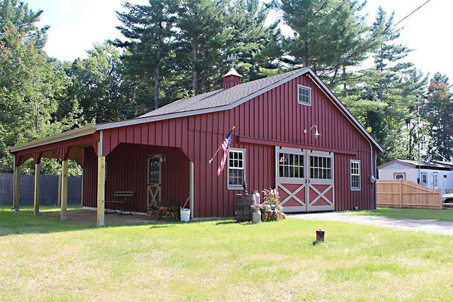 Horse Barn With Lean To Attached To The Side To Give