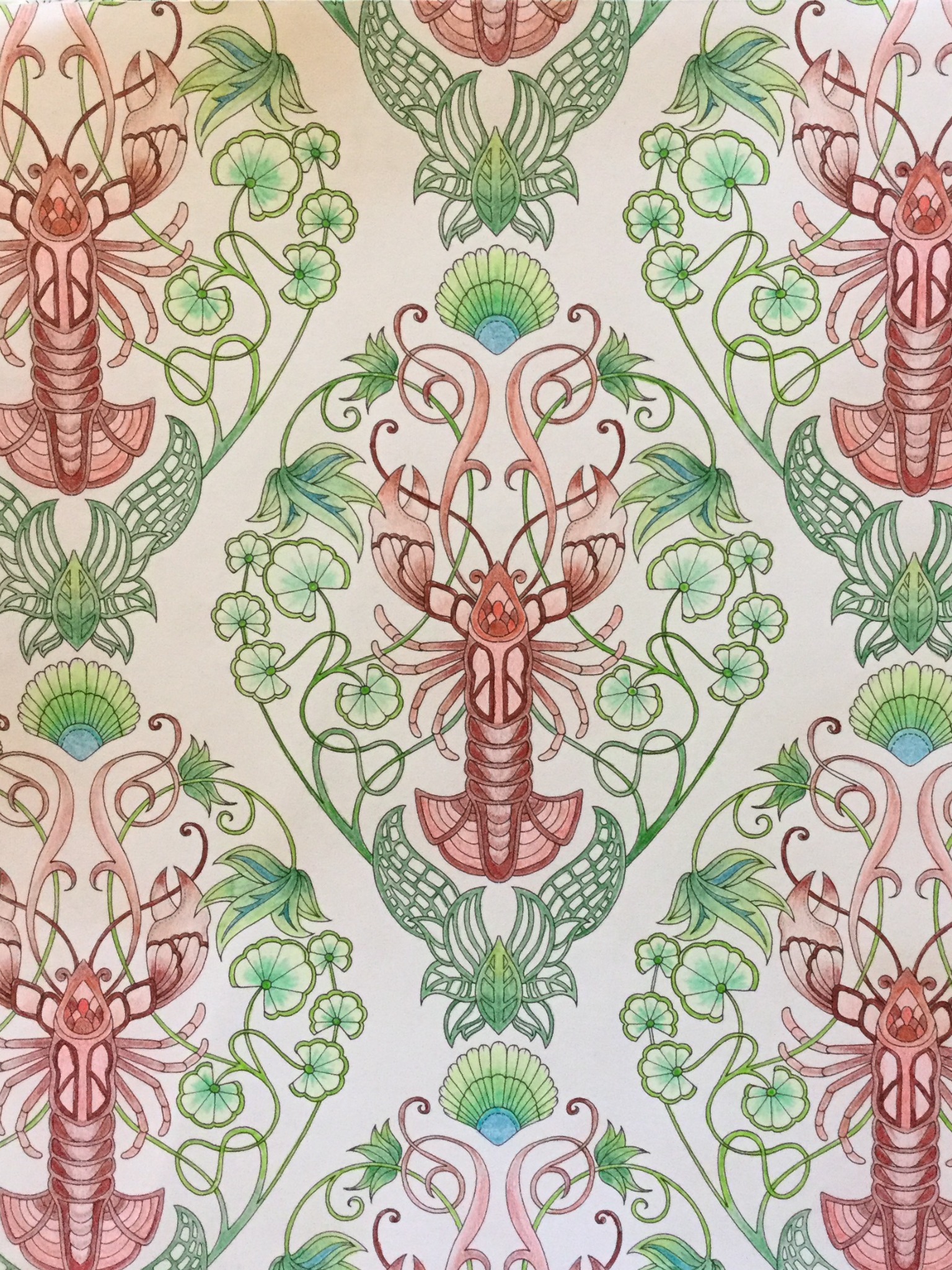 Lobsters From My Johanna Basford 2016 17 Coloring Book Planner Finished 9