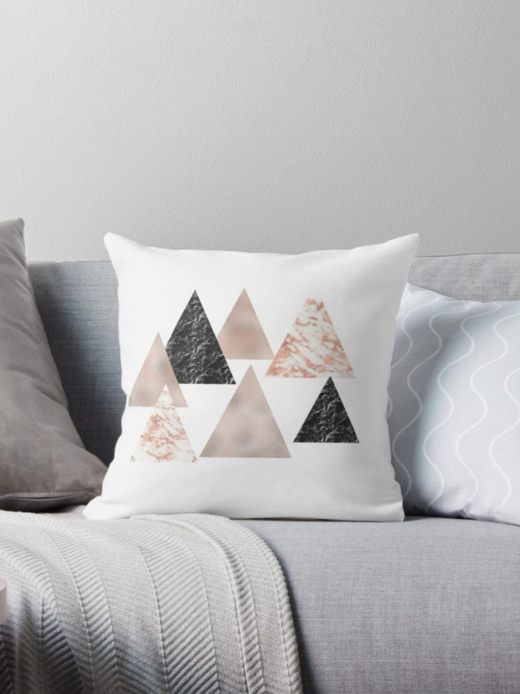 Rose gold marble geo triangles Throw Pillows