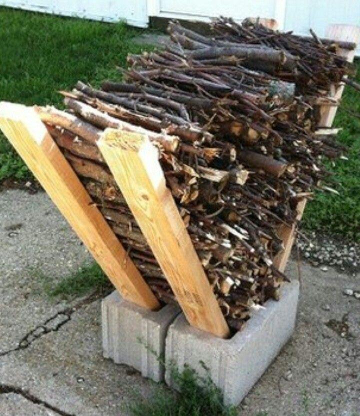 Firewood storage! | Cinder block fire pit, Outdoor ...