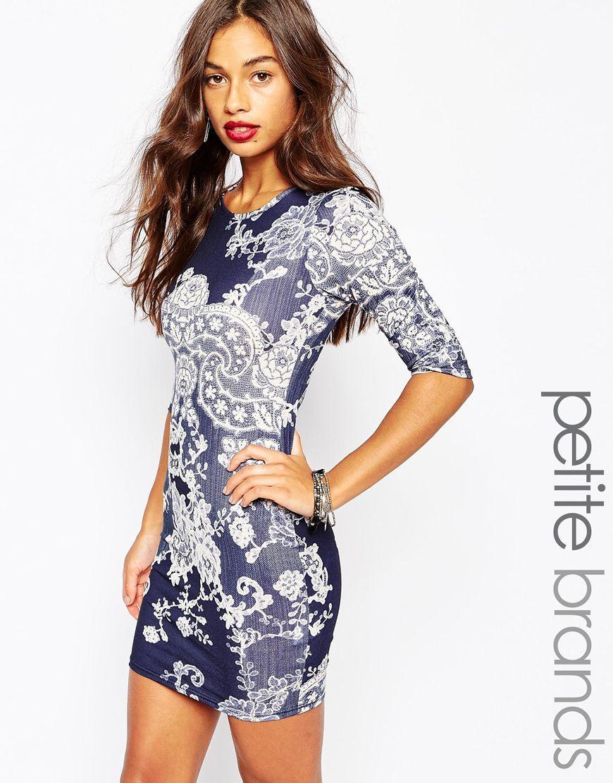 Image 1 ofBoohoo Petite Mosaic Print Bodycon Dress