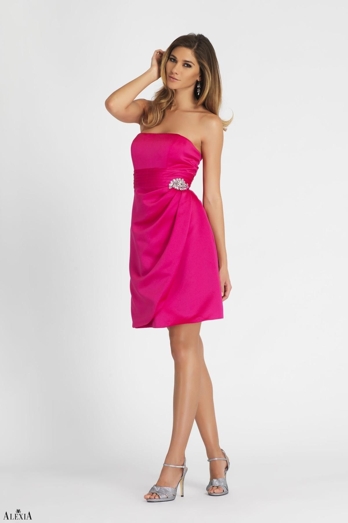 Magenta satin strapless, cocktail length dress. Pleated waistband ...