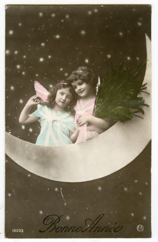 C1910 Cute Little Angel on Paper Moon Antique Fantasy Tinted Photo Postcard | eBay
