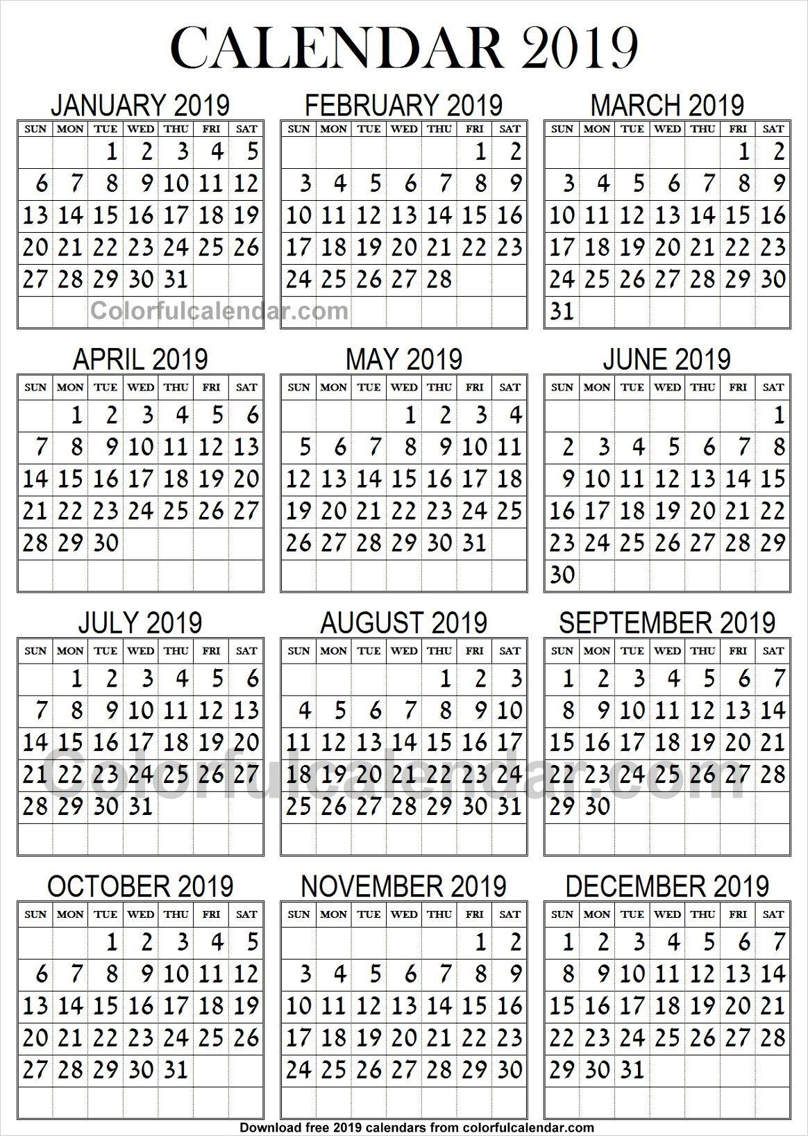 Large Calendar 2019 2019 Calendar Large Print | 2019 Yearly Calendars | 2019 calendar