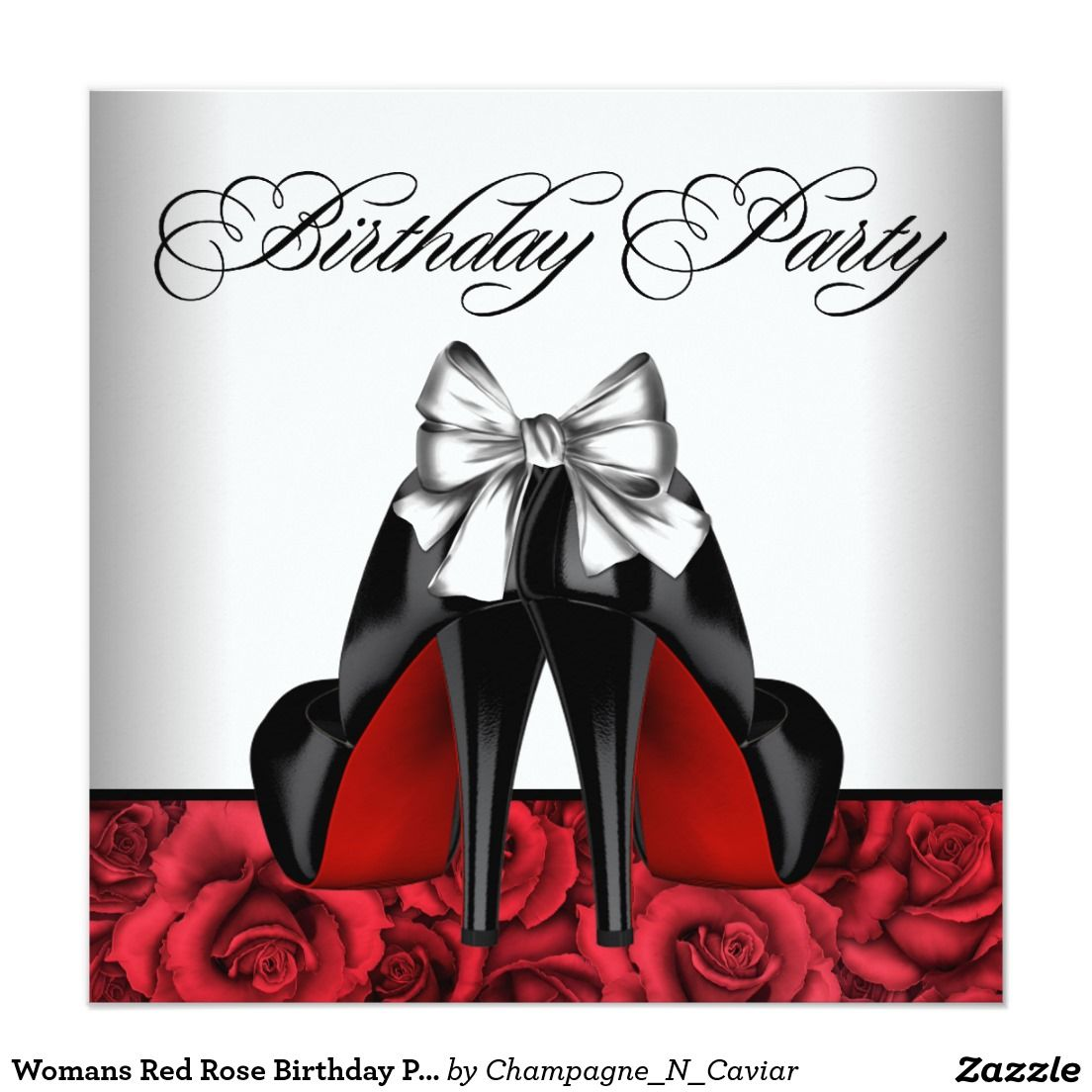 Womans Red Rose Birthday Party 5.25x5.25 Square Paper Invitation ...