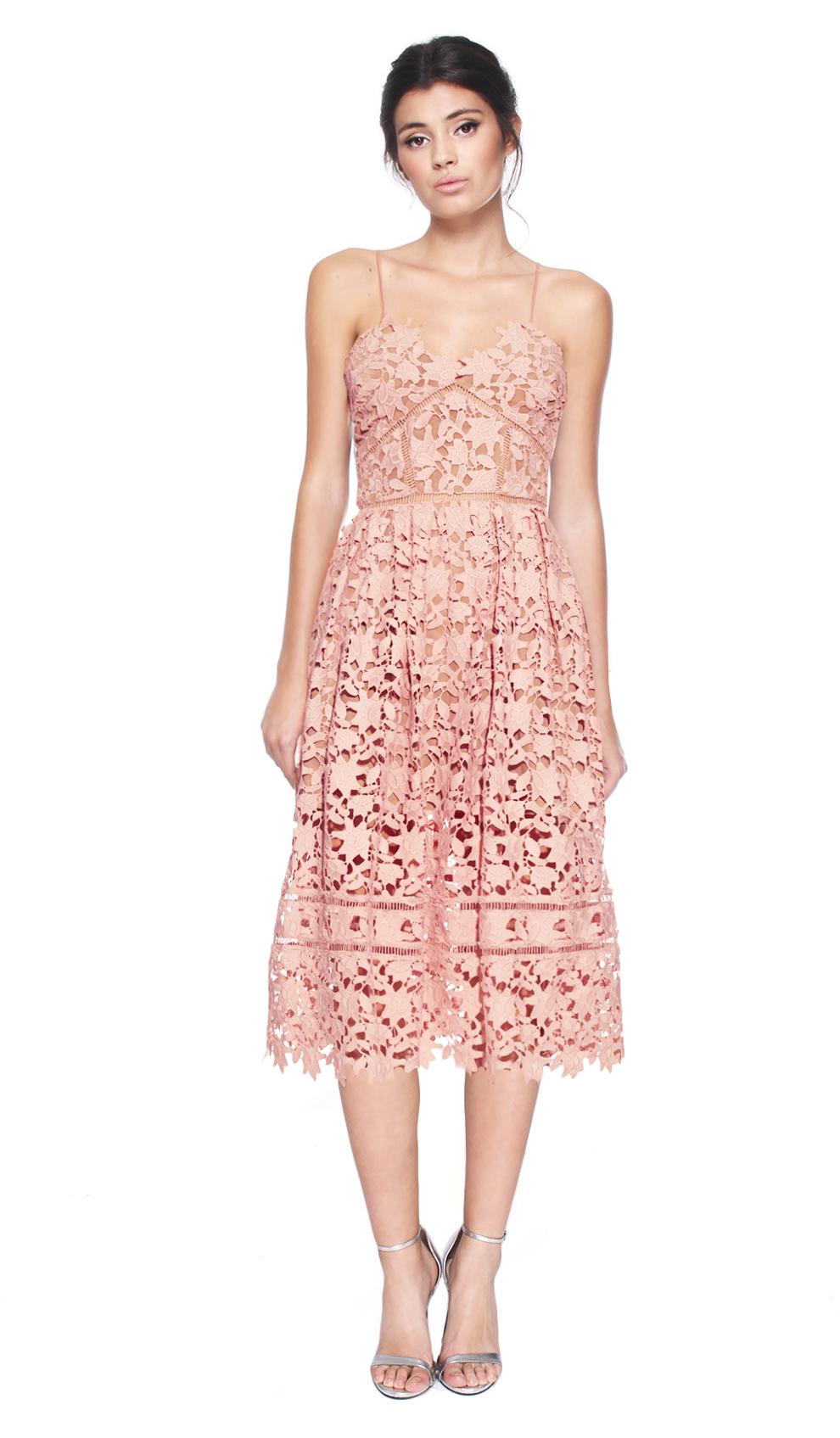 Self-Portrait Pink Azaelea Lace Midi Dress | Designer Dress Hire and ...