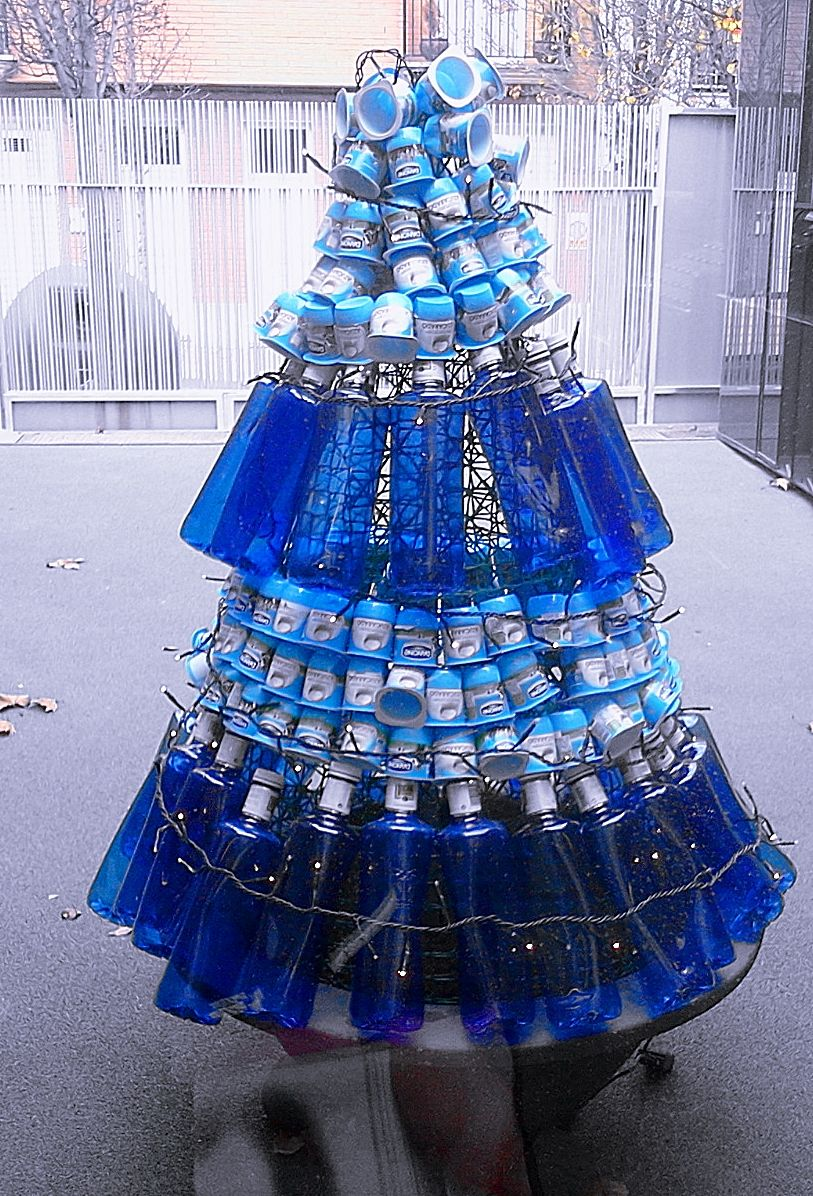 Christmas Tree Water.Christmas Tree Made Of Plastic Water Bottles And Empty