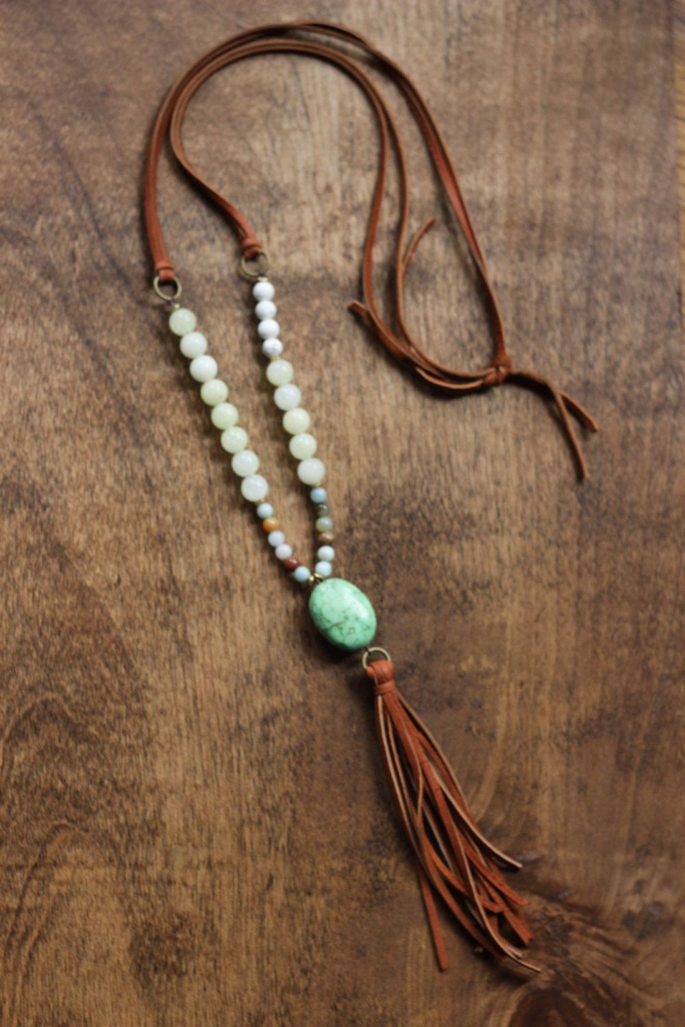 Boho beaded necklace with camel tassel and green stone pendant