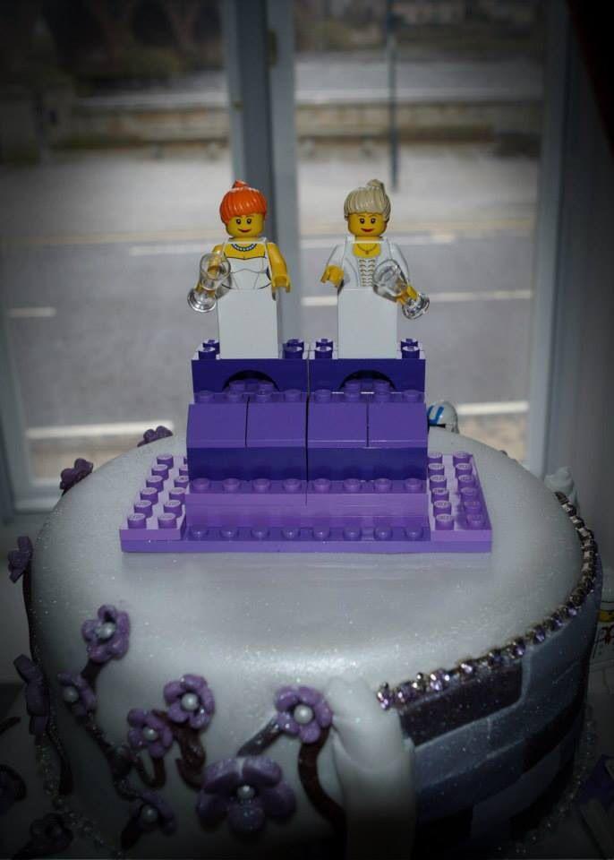 Lego cake topper at Lesbian Wedding