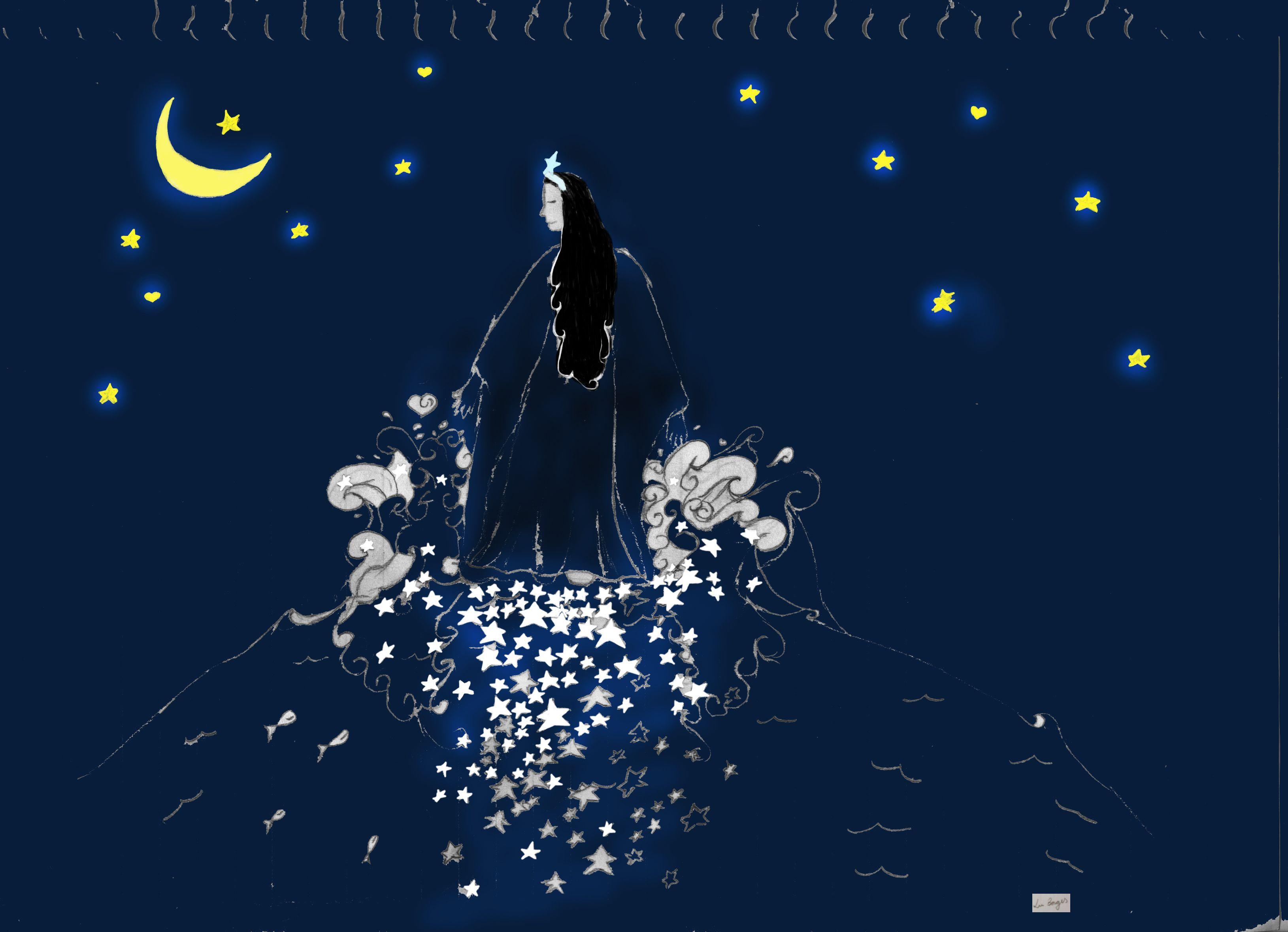 That's me, risking an illustration of my own: Iemanjá deixando um caminho de estrelas pelo mar.