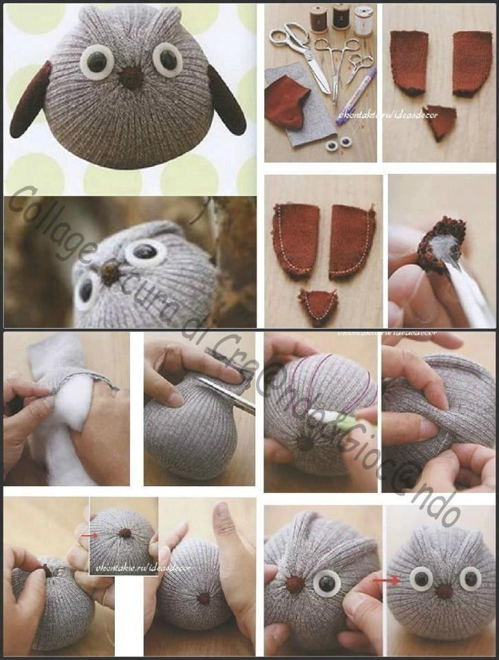 Eule aus Socke   nähen   Pinterest   Eule, Socken-Affen und Handarbeiten