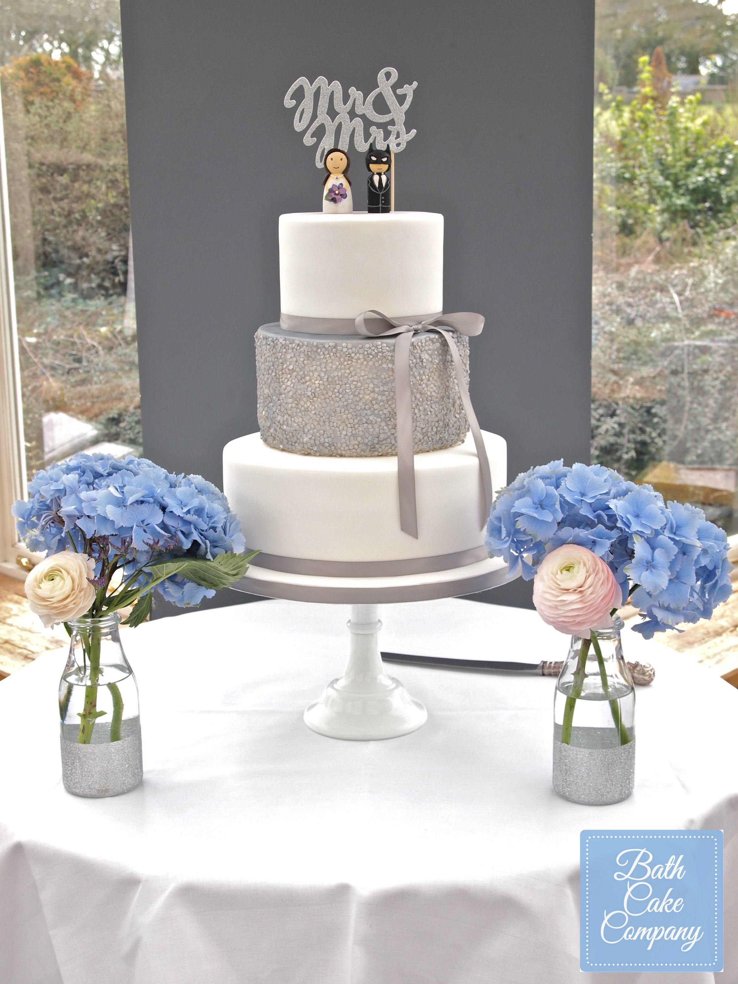 Silver sequin wedding cake by bath cake company