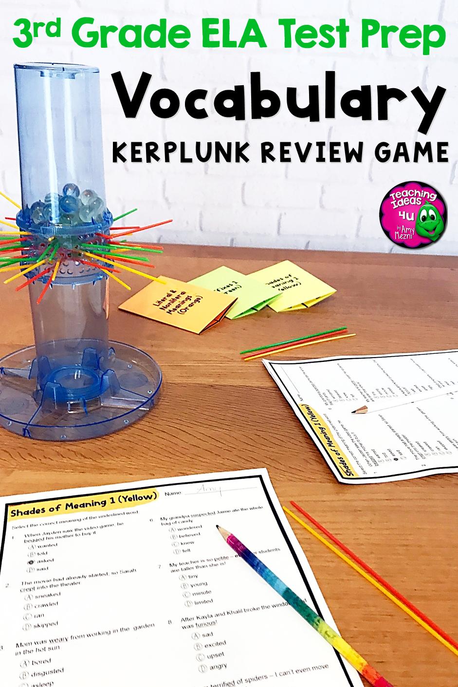ELA Test Prep Vocabulary Kerplunk Review Game 3rd Grade FSA AIR ...