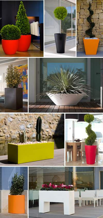 Colorful large planters. Great as focal points for your patio, for solving design dilemmas, creating a welcoming front entry, and more.  Check out the wide selection at| urbilis.com