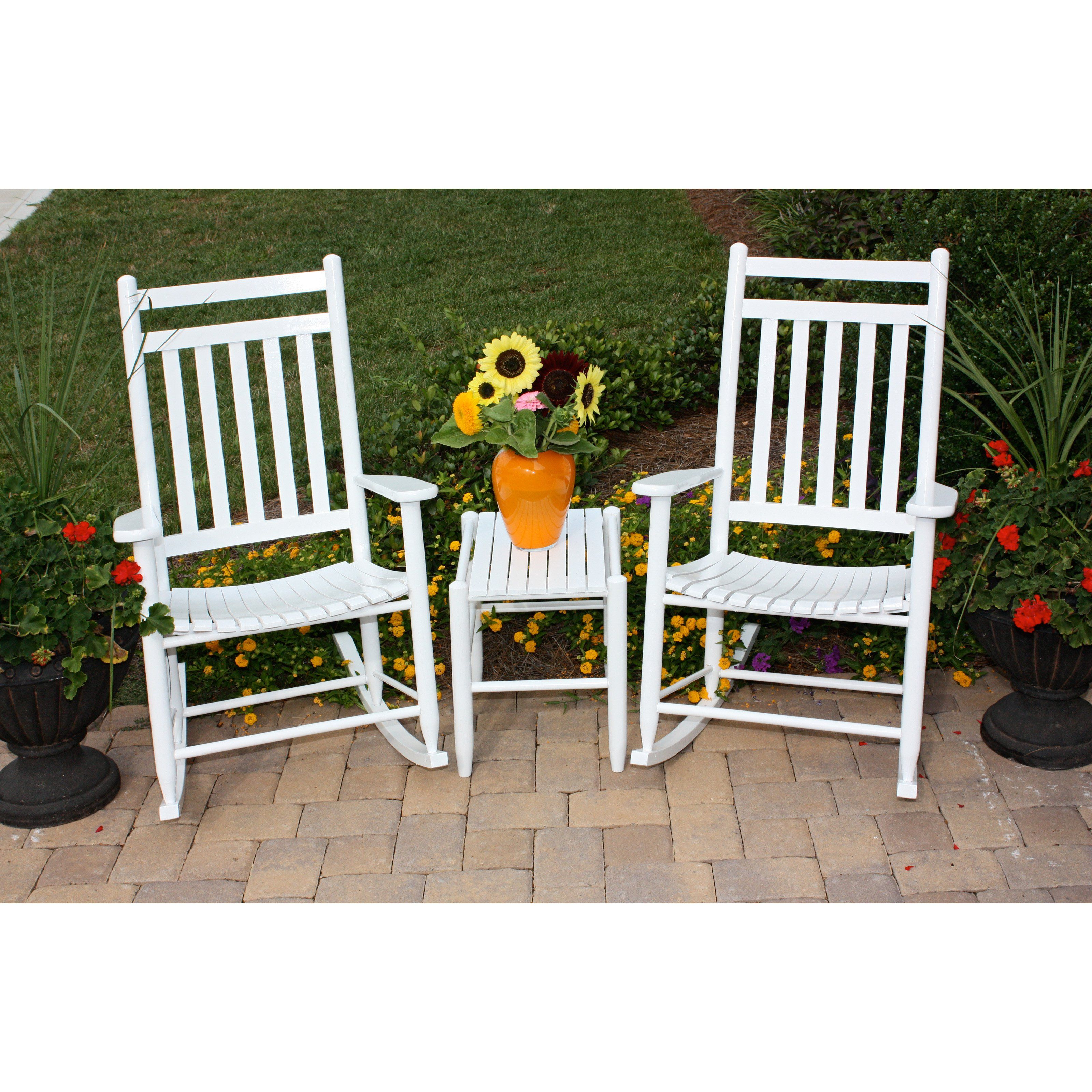 Outdoor Dixie Seating 3 Pc Slat Rocking Chair Set With Side Table