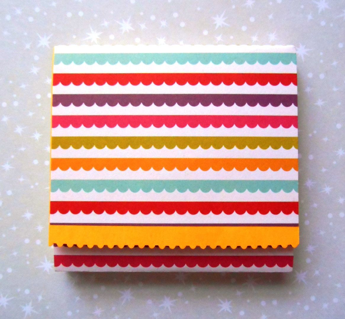 cozy paper holders. Sticky Note Holder Cozy, Bright Scalloped Stripes - Pinned By Pin4etsy.com Cozy Paper Holders