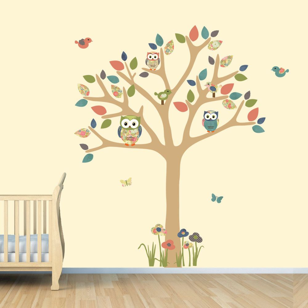 Nursery wall decal owl tree decal owl art owl tree wall sticker nursery wall decal owl tree decal owl art por stickitdecaldesigns amipublicfo Image collections
